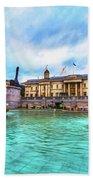 Trafalgar Square Fountain London 5 Art Beach Towel