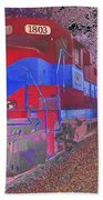 Train On Railroad Tracks - Abstract In Blue And Red Beach Towel