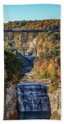 Train Over Letchworth Beach Towel