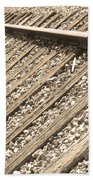 Train Tracks Sepia Triangular  Beach Towel