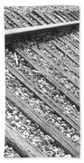 Train Tracks Triangular In Black And White Beach Towel
