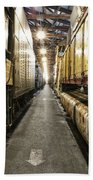 Trains Ancient Iron In The Barn Beach Towel