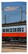 Trains Chicago Aurora Elgin Trolley Car 409 Beach Towel