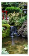 Tranquility In A Japanese Garden Beach Towel