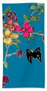 Transparent Flowers And Butterflies In Color Beach Towel