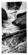 Trap Falls In Ashby Ma Black And White 9 Beach Towel