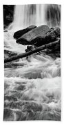 Trap Falls In Ashby Ma Black And White 1 Beach Towel