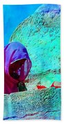 Travel Exotic Woman On Ramparts Mehrangarh Fort India Rajasthan 1e Beach Towel