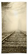 Traveling On The Tracks Antique Beach Towel