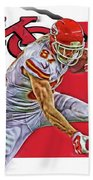 Travis Kelce Kansas City Chiefs Oil Art Beach Towel