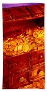 Treasure Chest With Gold Coins Beach Sheet