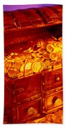 Treasure Chest With Gold Coins Beach Towel