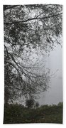 Tree And Moored Boat Beach Towel