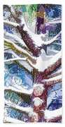 Tree Branches Covered By Snow In Winter Beach Towel