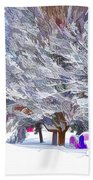 Tree Branches Covered By Snow  Beach Towel