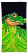 Tree Frog On A Leaf With Lady Bug Beach Towel