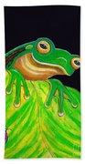 Tree Frog On A Leaf With Lady Bug Beach Towel