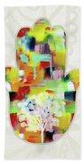 Tree Of Life Hamsa- Art By Linda Woods Beach Sheet