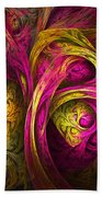 Tree Of Life In Pink And Yellow Beach Towel