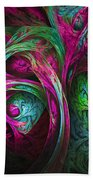 Tree Of Life-pink And Blue Beach Towel