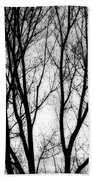 Tree Silhouettes In Black And White Beach Towel