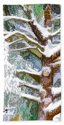 Tree With White Fluffy Snow Beach Towel