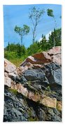 Trees Above The Pink And Grey Rock  Beach Towel