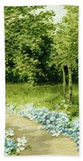Trees And Flowers Country Scene Beach Towel