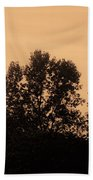 Trees And Geese In Sepia Tone Beach Towel