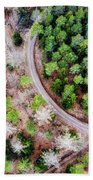 Trees And Path From Above Drone Photography Beach Towel