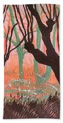 Trees At Sunset Beach Towel
