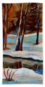 Trees At The Rivers Edge Beach Towel