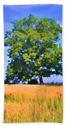 Trees In Field Beach Towel