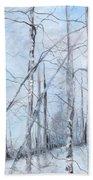 Trees In Winter Snow Beach Sheet