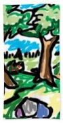 Trees W Water Ddl Beach Towel