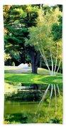 Trees With Mirror Lake 2 Beach Towel