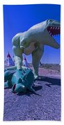Trex And Triceratops  Beach Towel