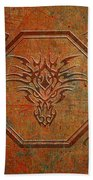 Tribal Dragon Head In Octagon With Dragon Chinese Characters Distressed Finish Beach Towel