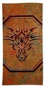 Tribal Dragon Head In Octagon With Dragon Chinese Characters Beach Towel