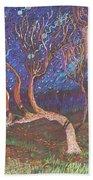 Trinity Tree By Moonlight Beach Towel