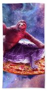 Trippy Space Sloth Turtle - Sloth Pizza Beach Sheet