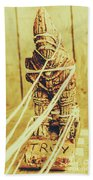 Trojan Horse Wooden Toy Being Pulled By Ropes Beach Towel