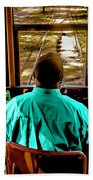 Trolley Driver In New Orleans Beach Towel