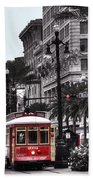 Trolley On Bourbon And Canal  Beach Towel