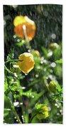 Trollius Europaeus Spring Flowers In The Rain Beach Towel