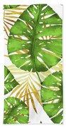 Tropical Haze Green Monstera Leaves And Golden Palm Fronds Beach Towel