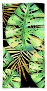 Tropical Haze Noir Variegated Monstera Leaves, Golden Palm Fronds On Black Beach Towel