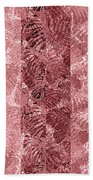 Tropical Leaf Stripes Dusty Cedar Beach Towel by Karen Dyson
