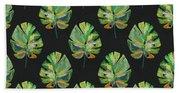 Tropical Leaves On Black- Art By Linda Woods Beach Towel