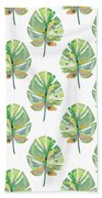 Tropical Leaves On White- Art By Linda Woods Beach Towel by Linda Woods